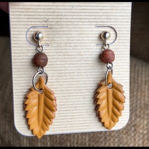 Sterling silver leather leaf earrings